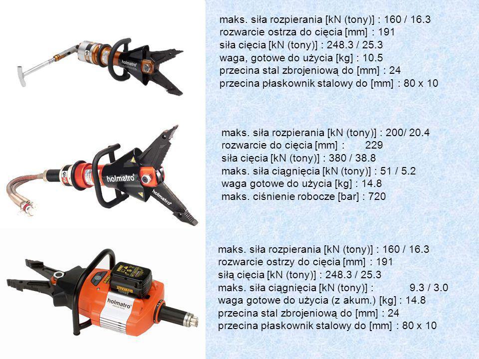 maks. siła rozpierania [kN (tony)] : 160 / 16.3